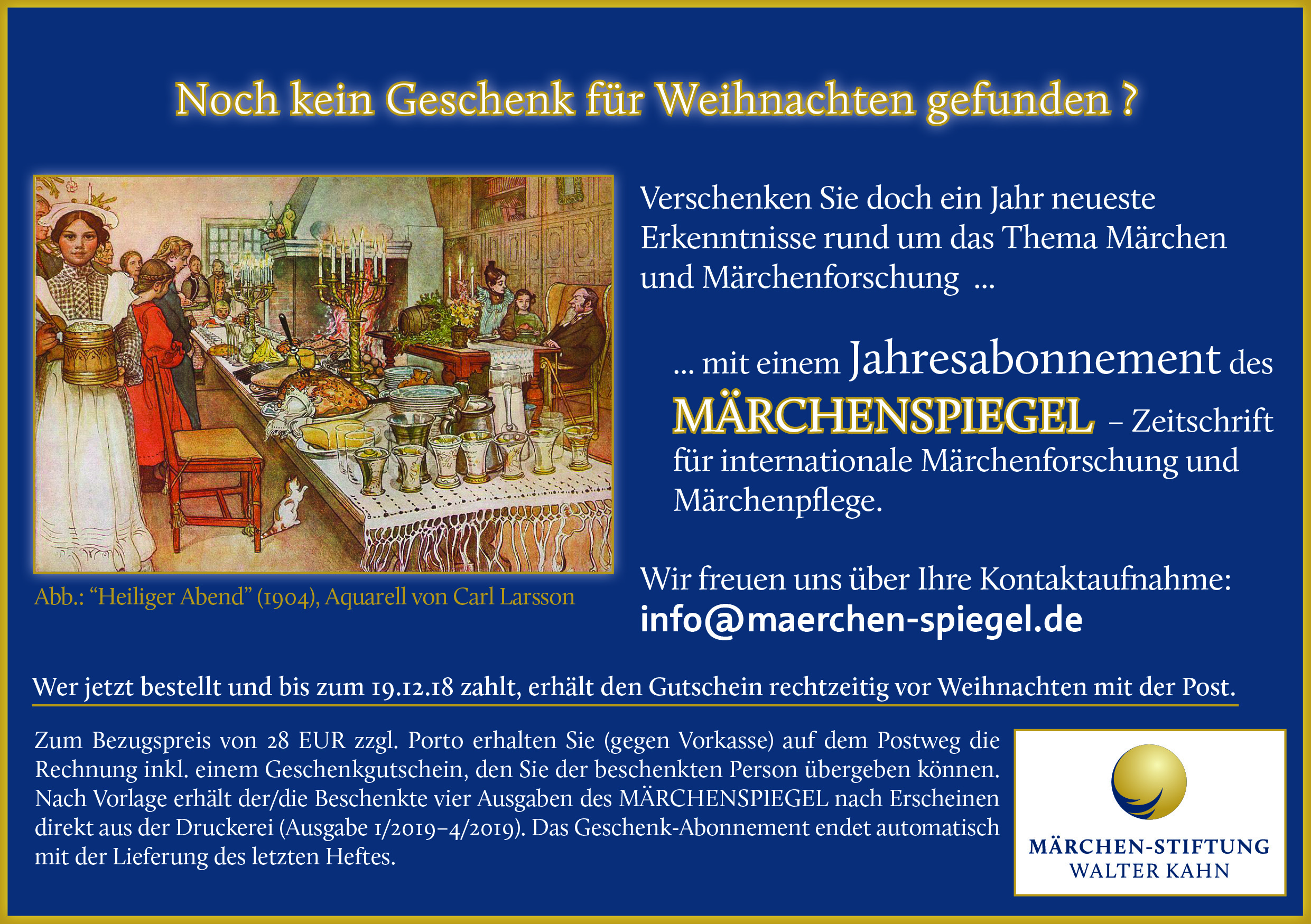 Märchen Weihnachten 2019.Roland Kahn Märchen Stiftung Walter Kahn